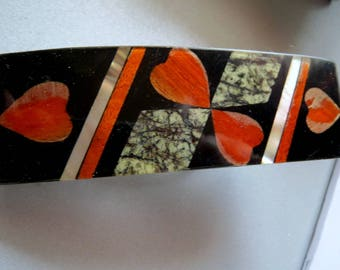 Barrette, mother-of-Pearl, lacquer, vintage, vintage hair accessories, hair clip with heart, vintage jewelry for the hair
