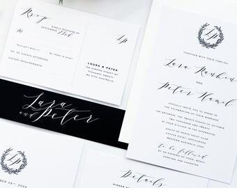 Lara Black Modern Calligraphy Wedding Invitation Sets, Printable Wedding Invitations or Printed Cards, RSVP postcard, Wreath Invitations