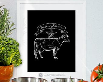 Beef Cuts Poster Cow Diagram Butcher Chart Printable Kitchen Print Kitchen Wall Art Chalkboard Sign Home Decor Big Size PDF Digital Download