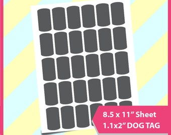"Instant Download, dog tag Template, PSD, PNG and SVG Formats,  8.5x11"" sheet,  Printable 051"
