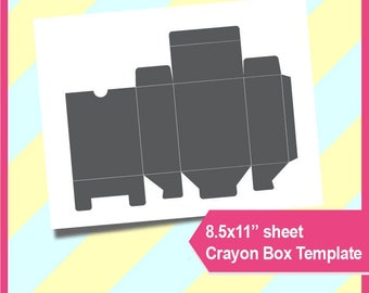 "Crayon box Template, Instant Download, PSD, PNG and SVG Formats,  8.5x11"" printable 030"
