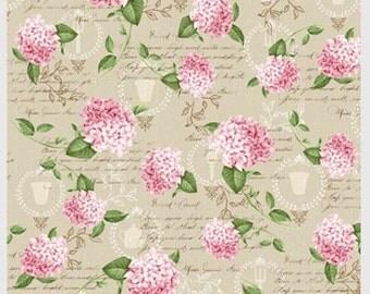 Pink Lady - Per Yd - P&B Textiles - Beautiful Hydrangeas on Lt Tan