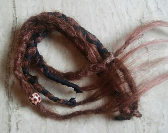 knotty JUNK DREADS Set of decorated brown synthetic dreadlocks / brown interlocked super knotty DreadLocks / brown handmade Dread extensions