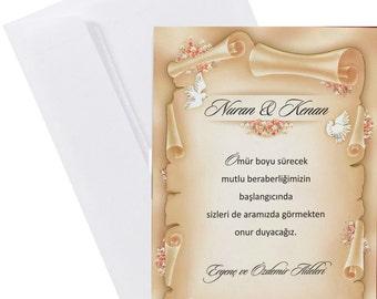 Wedding invitations scroll imitation, kraft paper imitation Free shipping