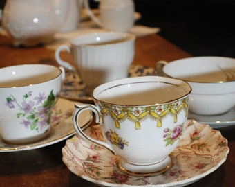 Tea Party Set of Coordinating Cups and Saucers -007