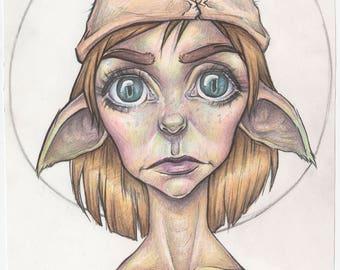 house elf - A4 ART PRINT ~colour pencil drawing~