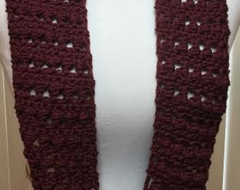 Burgundy Scarf, Aubergine Summer Scarf, Crochet Scarf, Summer Scarf, Cotton Scarf, Lightweight Scarf, Crocheted Scarf, Gifts for Her