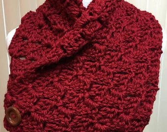 Red Neckwarmer Scarf, Red Button Scarf, Dark Red Crochet Scarf, Red Neck Warmer Scarf, Red Scarf with Buttons, Chunky Red Neckwarmer