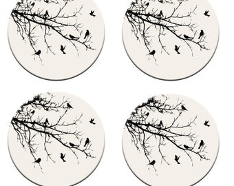 A pack of 4 birds on a tree in silouhette  Pattern weights Ideal for weighing down patterns on delicate fabrics no need for pins