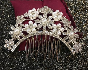 Our PARSONS Comb Bridal / Wedding hair comb, Wedding hair accessories, Crystal, Vintage, Floral, pearls, crown, prom