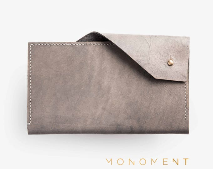 Leather and brass clutch. Minimal, simple, basic and nice design wallet. Handcrafted. Holds everything you need for everyday and looks great