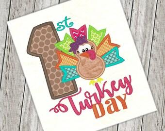 First Thanksgiving Turkey Applique Design Fall Design Thanksgiving Embroidery Turkey Applique Embroidery Design Petunia Petals Designs 1149