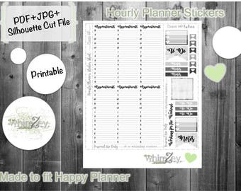Printable Planner Stickers- Hourly for HP