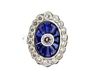 Art Deco Sapphire and Diamond Ring / Vintage Art Deco Remake Sapphire Ring / Sapphire Surround Ring / Art Deco Sapphire Ring / Art Deco Ring