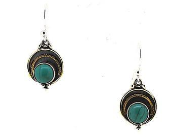 Turquoise Drop Earrings / Handmade Turquoise Earrings / Two Tone Turquoise Earrings / Birthstone Earrings / Silver Turquoise Earrings /Green