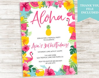 Luau Aloha Birthday Invite Hawaiian Invitation Flamingo Watermelon Summertime Summer Digital 5x7 Kids Girls
