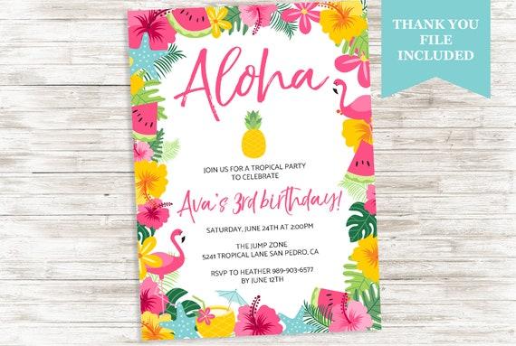 Tropical Themed Party Ideas Free Printables: Luau Aloha Birthday Invite Hawaiian Invitation Flamingo