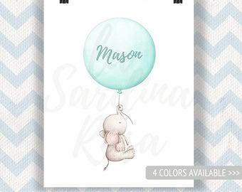 Elephant Nursery Print, aqua nursery decor, elephant art, custom name gift, Gender neutral Baby gift, Watercolor elephant