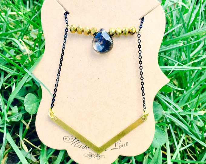 Smoky Quartz Chevron Amulet Necklace