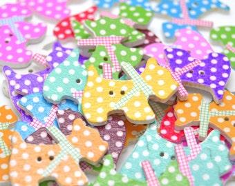 Dog buttons, scotty dog buttons, spotty dog buttons, colourful dog buttons, wooden buttons, animal buttons, pet buttons