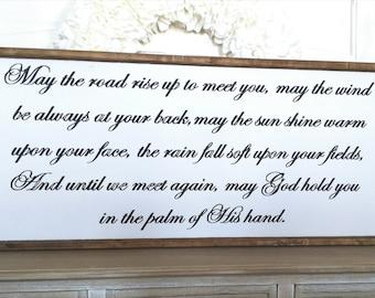 Irish Blessing Wood Sign - Script Font Version - Painted Wood Sign - Scripture Wood Sign - Bible Verse Sign