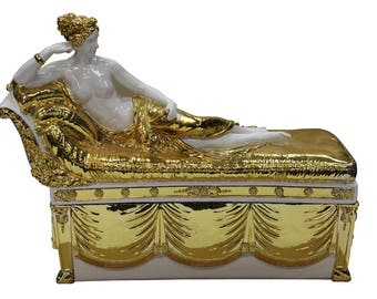 Gold White Lady Fiber Glass Decor Box Figure s1849-2E