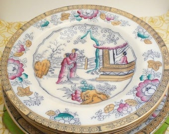 Staffordshire English Polychrome Chinoiserie Cabinet Plates and Bowls (2 Plates, 4 Bowls) - Chinese Pattern/The Tea House - Hope & Carter
