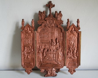 France XIXth century St Michel and St George religious triptych