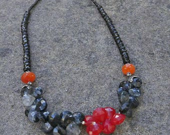 Black ruthile splinel carnelian  pink chalcedony sterling silver necklace