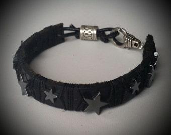 men's bracelet leather star hematite beads