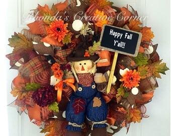 Happy Fall Y'all Deco Mesh Wreath, Fall Wreath, Fall Deco Mesh Wreath, Deco Mesh Wreath, Ready to ship wreath