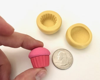 """Cupcake Flexible Silicone Mold Set (2 pieces) 0.8"""" (2cms) - Polymer Clay - Resin - Flexible molds - Miniature food - Crafts"""