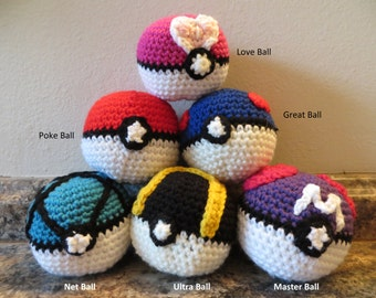 Pokeballs (pokeball, great ball, ultra ball, net ball, love ball, and master ball)