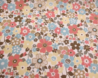 """Pink Vibrant """"Woodland Hippy Flowers"""" Floral Printed 100% Cotton Poplin Fabric"""