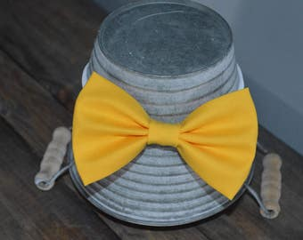 Solid Canary Yellow Fabric Hair Bow
