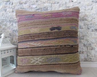 Old Embroidery Turkish Kilim Pillow 16x16 Handmade Pillows Rustic Pillow Turkey Kilim Pillow Cover Nomadic Pillow Throw Pillow