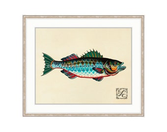 "Striper Fish 11""x14"" Giclee Print Of A Watercolor Painting For The Saltwater Angler. Striper Bass Painting."