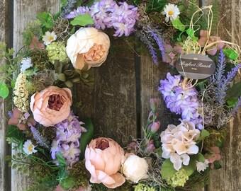 spring wreath, easter wreath, floral wreath, large wreath, indoor wreath, outdoor wreath, mother's day