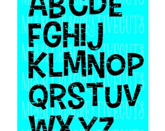 Distressed font 2  ALPHABET  SVG DFX Cut file  Cricut explore filescrapbook vinyl decal wood sign cricut cameo Commercial use