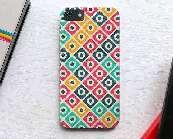Geometric Samsung Galaxy S7 Case, Vintage Squares Pattern iPhone 6s Case, Square Pattern iPhone 5S Case, Colorful iPhone SE Case