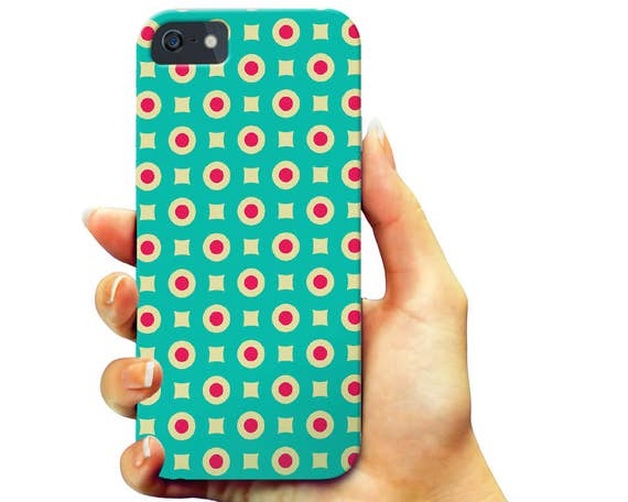 Polka Dot iPhone 6s Case, Retro iPhone 7 Case, Color Pattern iPhone 7 Plus, Classic iPhone SE Case, Turquoise iPhone 6 Case, Galaxy S7 Case