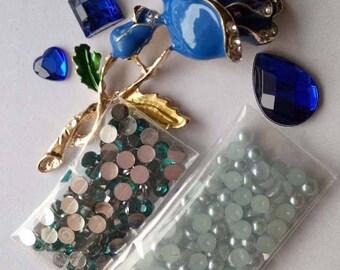 Metal rose embellishments flat backed gems pearls scrap booking card making crafts