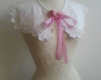 BARDOT COLLAR Vintage Reworked Collar White Cotton Lace Macrame' Vichy Pink Lavalliere Handmade Collar Lolita Peter Pan Romantic Boho Chic