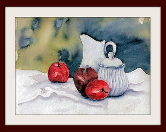 Watercolor - unique - Still Life Apples, Jug and Sugar Cane - Size 24x32 cm