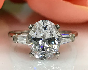 Moissanite Engagement Ring Forever One 3.00ct Oval  with Tapered Baguettes   set in  14k White Gold #4855