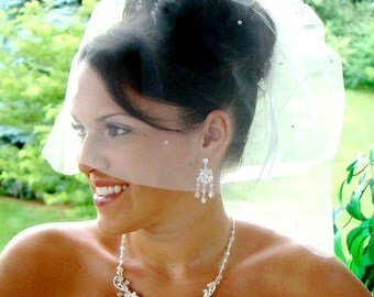 Veil Birdcage IVORY Bridal Wedding ILLUSION TULLE Crystals  Custom Made Double Layer