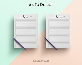 To Do List, A5 Planner Inserts, Printable Planner, To Do List Printable, A5 Planner, To Do, Daily Planner, A5 Filofax, A5 Inserts