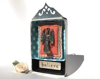 Matchbox Art, Inspirational Art, Religious Art, Milagro Art, Get Well Present, Special Occasion Present