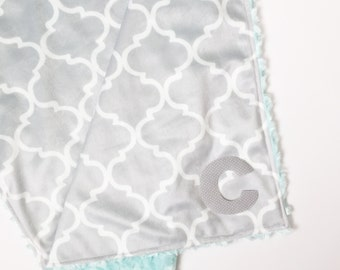 Double Minky blanket-Snuggle-Personalized baby blanket-Monogrammed-Gray-Teal-Lovely blanket-Security blanket-Custom-Modern-Baby blanket