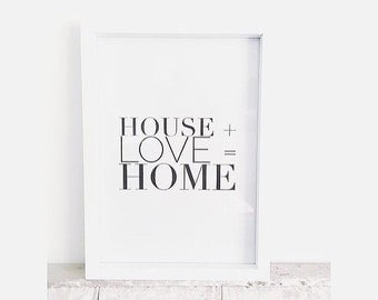 House plus love equals home print.